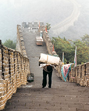 worker on the great wall, china