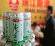 zhujiang beer at restaurant in China