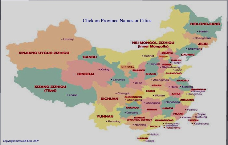 destination map of china